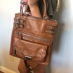 Brown purse with silver metal accents